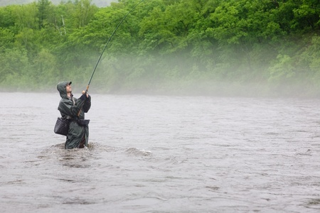 Fisherman caught a salmon. Rain. Fog. Morning. photo
