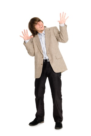 Young man in a panic mood waving his arms Stock Photo - 12710519