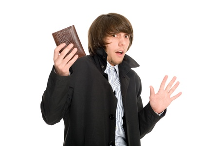 alleged: Panic frightened young man gave his wallet the alleged robber  Stock Photo