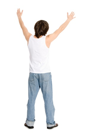 Young man standing with his hands up your back photo