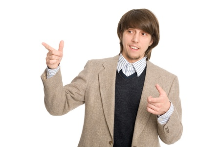Elegant smiling young businessman representing something photo