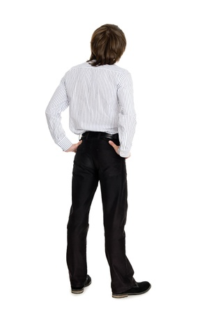 looking upwards: Stylish young man standing with his back looking up Stock Photo