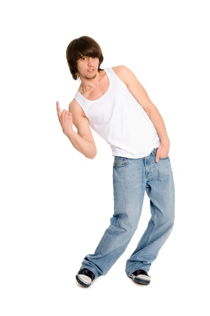 Young man dancing in a free style photo