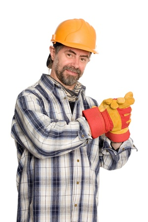 clutching: Friendly smiling construction worker clutching hands
