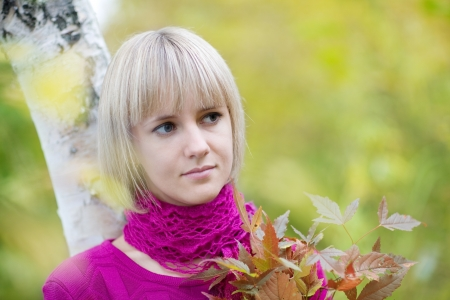 Portrait beautiful blonde on a background of autumn leaves. Stock Photo - 13901068