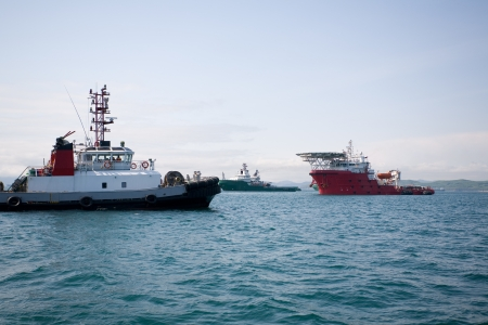 Ocean salvage tugs boat in the port  photo