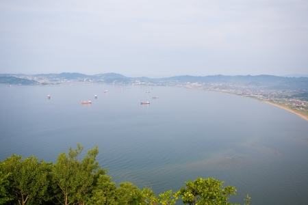 Nakhodka city stand on the shores of Nakhodka bay  Morning  Russia  Primorsky Kray  Japan sea  photo