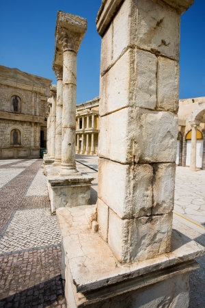 Ancient ruins. Reconstituted stone copy of architectural structures from the Roman period. photo