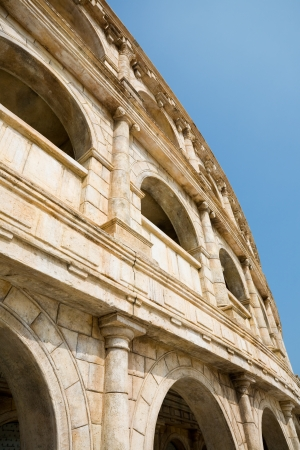 reconstituted: Ancient ruins. Reconstituted stone copy of architectural structures from the Roman period. Stock Photo