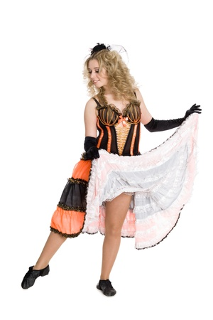 Beautiful blonde girl dancing the cancan. photo