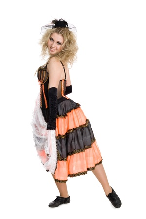 Young beautiful sexy blonde girl dancing the cancan. photo