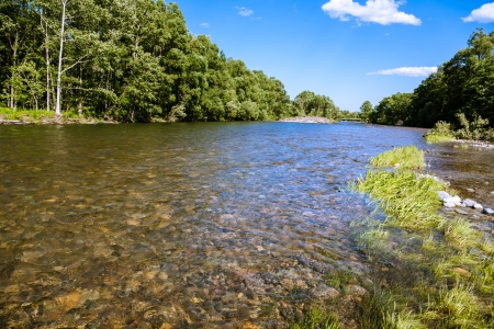 Beautiful summer landscape with the river  photo