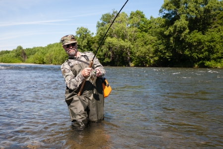 Joyful fisherman pulls caught salmon from the river. photo