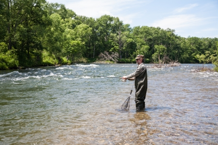 Fisherman catches of salmon in a mountain river. Stock Photo - 22371849