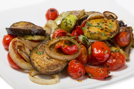 Grilled vegetables (zucchini, eggplant, onions, sweet bell peppers, asparagus, tomato) photo
