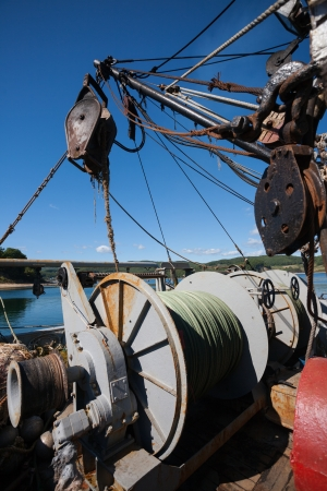 trawl: Winch for lifting the trawl on board vessel  Stock Photo
