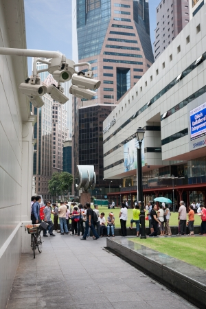 SINGAPORE - NOVEMBER 5   Security cameras in the city center Raffles Place on November 5, 2012 in Singapore  Security cameras are installed to ensure safety on the streets