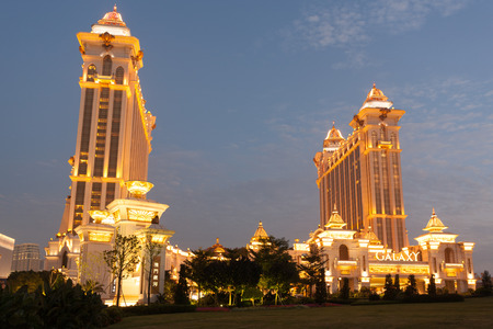 MACAU, CHINA - NOVEMBER 3, 2012  Galaxy - grand casino and hotel complex in the evening  Macau is the gambling capital of Asia and is visited by over 25 million people every year