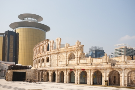 reconstituted: Ancient Roman architectural part of an entertainment complex in Macau Fisherman