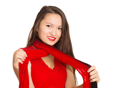 Beautiful Asian girl with a red scarf  Mixed race Asian Caucasian girl  photo
