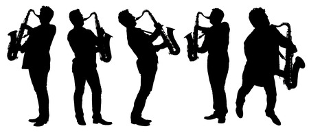 Silhouettes saxophonist with a saxophone isolated on white.