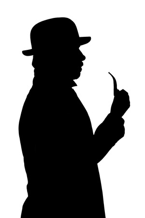 Silhouette of a man in a bowler hat with a pipe.