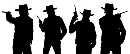 stetson: Silhouettes of cowboy with a gun in a stetson isolated on white.  Stock Photo