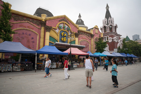 xx century: DALIAN, CHINA - JUNE 12, 2012: Famous Russian street in the Dalian morning. Russian on street there are many buildings built in the Russian style of the late XIX century - Beginning of XX century. Editorial