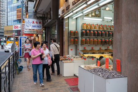 HONG KONG - NOVEMBER 14, 2012: The store seafood in Sheung Wan district. Trade in shops dried seafood a very common type of business in Hong Kong, as seafood are popular with the locals.
