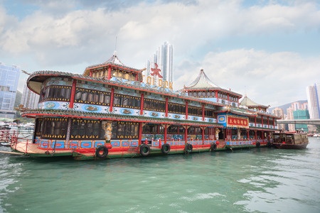 HONG KONG - SEPTEMBER 28, 2011  The world-famous Tai Pak floating restaurant is part of Jumbo Kingdom, it is a tourist attraction located in the within Hong Kong