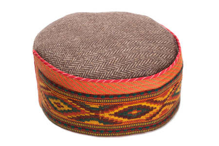 skullcap: Skullcap with traditional Indian arnamentom isolated on white.