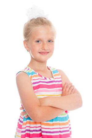 Portrait of a beautiful blond girl six years.  photo