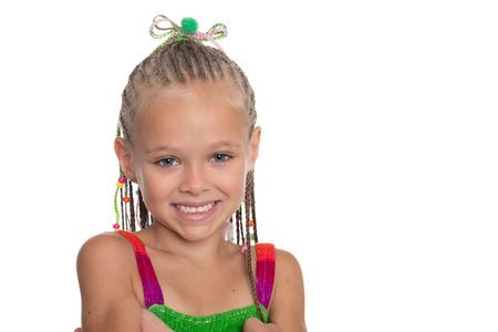 Detailní portrét dívky s dreadlocks. Dívka má šest let.