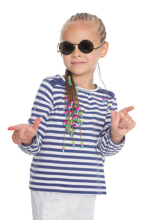 Cute little girl showing thumbs up in different directions photo