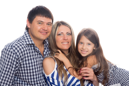 seven years: Parents with daughter seven years isolated on a white background