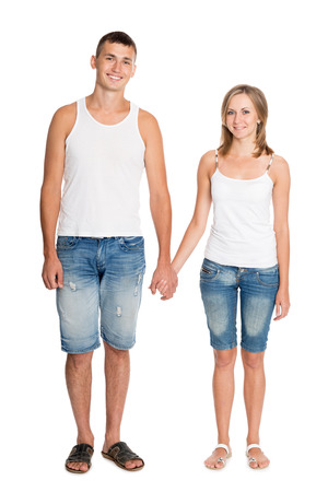 breeches: Beautiful smiling young couple in love in breeches and undershirts