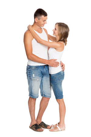 breeches: Young enamored couple in breeches and undershirts