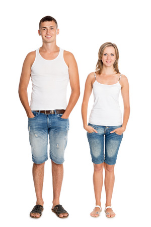 breeches: Portrait of young guy and girl in breeches, a full length