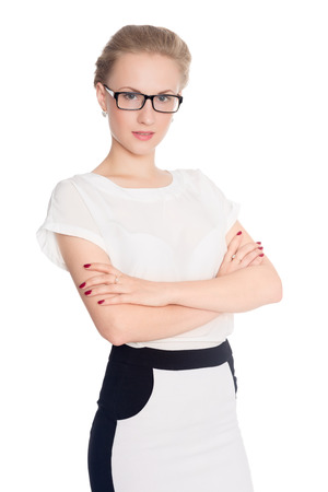 Business woman portrait in glasses. Crossed arms photo