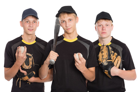 Team of young players in baseball. Two of the boys twin brothers. Stock Photo