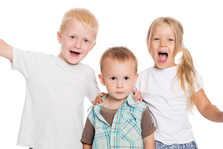 enthusiastically: Children enthusiastically shouting and waving their hands