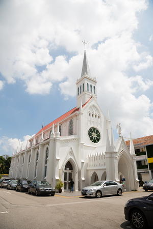 catholic chapel: SINGAPORE - JANUARY 28, 2015: The Church of Our Lady of Lourdes is a Catholic church in Singapore, active church. The Church of Our Lady of Lourdes was blessed and officially opened in 1888.