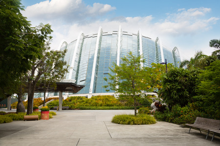hectares: SINGAPORE - JANUARY 27, 2015: Park Gardens by the Bay is spanning 101 hectares in central Singapore. Park is intended to become Singapores premier urban outdoor recreation space and a national icon. Editorial