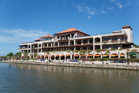 historical sites: MALACCA, MALAYSIA - CIRCA JANUARY, 2015: Casa Del rio Melaka - 5-star Luxury Boutique hotel in Melaka built on the bank of the Melaka River, within sight of the main historical sites of Malacca.
