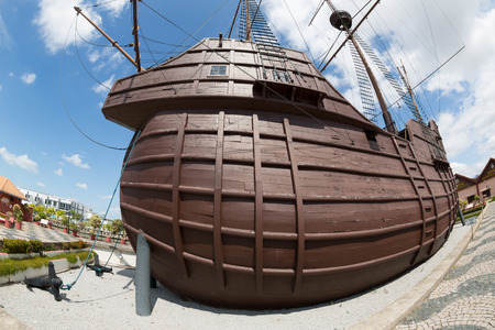 flor: MALACCA, MALAYSIA - CIRCA JANUARY, 2015: The Maritime Museum  it was officially opened to the public by on 13 June 1994. Museum main exhibits the replica ship of Flor de la Mar. Photographed fisheye.