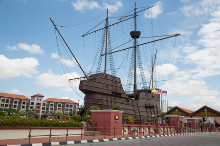 flor: MALACCA, MALAYSIA - CIRCA JANUARY, 2015: The Maritime Museum  it was officially opened to the public by on 13 June 1994. Museum main exhibits the replica ship of Flor de la Mar with 34 metres.