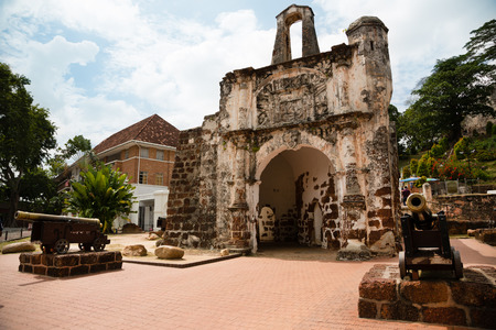 historical sites: The Porta de Santiago in Malacca. It all that remains of the Portuguese A`Famosa fortress at Malacca. Stock Photo