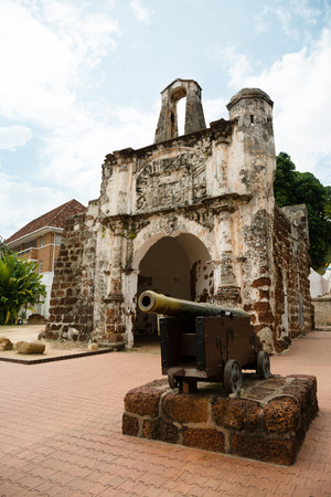 Porta de Santiago in Malacca. It all that remains of the Portuguese A`Famosa fortress at Malacca.