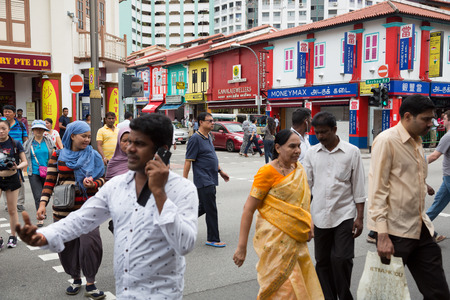 tekka: SINGAPORE - FEBRUARY 19, 2015: Little India or the Indian quarter, a very popular area with tourists visiting Singapore. Little India is commonly known as Tekka in the local Tamil community. Editorial