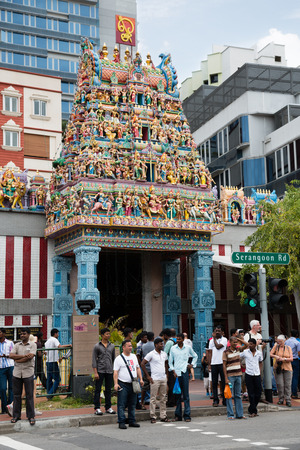 tekka: SINGAPORE - FEBRUARY 18, 2015: The Sri Veerama Kaliamman Temple in ethnic district Little India in Singapore. Little India is commonly known as Tekka in the local Tamil community.